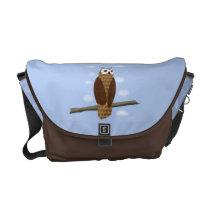 Cute Brown Owl Blue Sky Messenger Bag at Zazzle