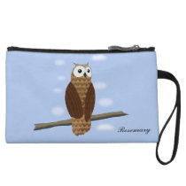 Cute Brown Owl Blue Sky Mini Clutch Wristlet Purses at Zazzle