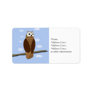 Cute Brown Owl Blue Sky Name Address Gift Tag at Zazzle