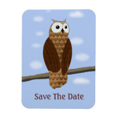 Cute Brown Owl Blue Sky Save The Date Flexi Magnet at Zazzle