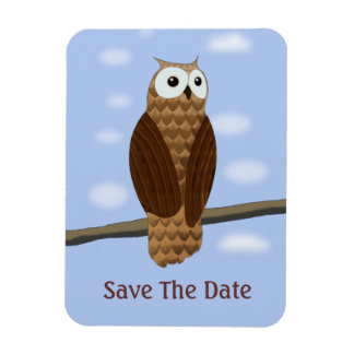 Cute Brown Owl Blue Sky Save The Date Flexi Magnet