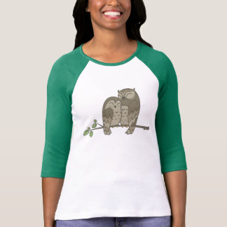 Cute Brown Owl Couple on a Branch T-Shirt