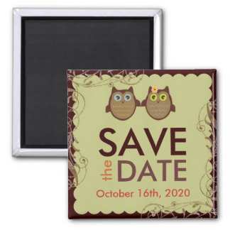 Cute brown owl couple save the date magnet