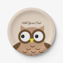Cute Brown Owl Custom Text A03A Paper Plate