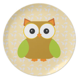 Cute Brown Owl Green Wings Kawaii Dinner Plate