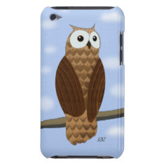 Cute Brown Owl In Blue Sky Ipod Touch 4g Case at Zazzle