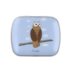 Cute Brown Owl In Blue Sky On Personal Candy Tin at Zazzle