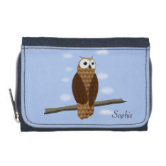 Cute Brown Owl In Blue Sky Purse Wallet at Zazzle