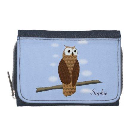 Cute Brown Owl In Blue Sky Purse Wallet