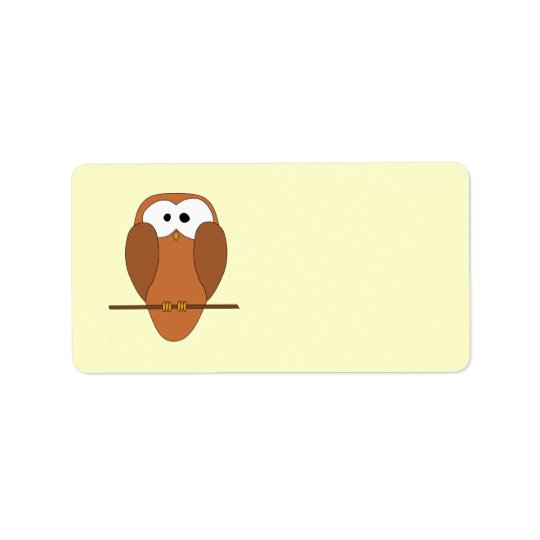 Cute Brown Owl Label
