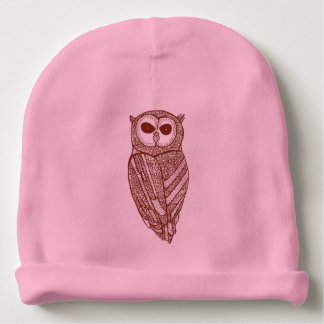 Cute Brown Owl Line Drawing Illustration Baby Beanie