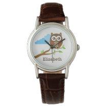 Cute Brown Owl on Branch Add Custom Name Wrist Watch