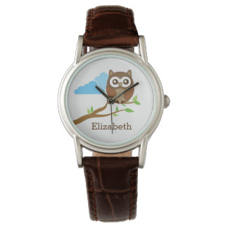 Cute Brown Owl on Branch Add Custom Name Wrist Watches