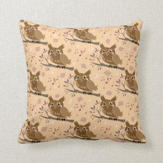 Cute Brown Owl Pattern Throw Pillows