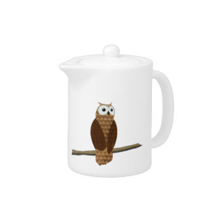 Cute Brown Owl Teapot at Zazzle