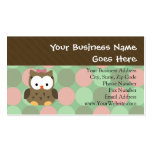 Cute Brown Owl w/Pink Bow Business Card Template