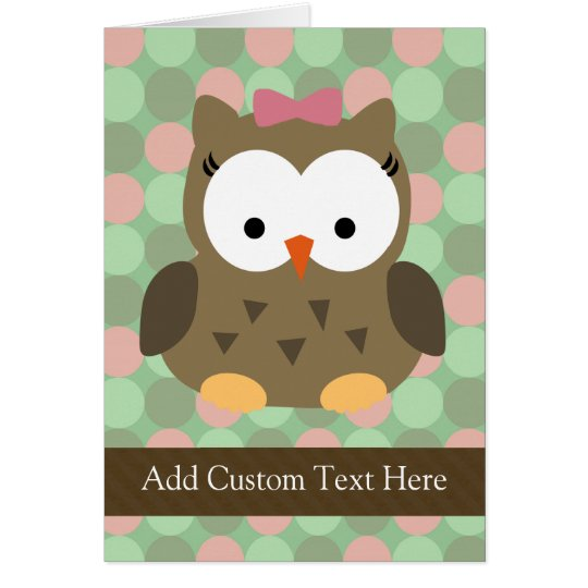 Cute Brown Owl w/Pink Bow Card