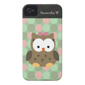 Cute Brown Owl w/Pink Bow iPhone 4 Covers
