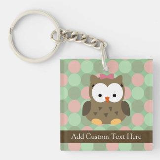 Cute Brown Owl w/Pink Bow Keychain