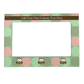 Cute Brown Owl w/Pink Bow Magnetic Frame