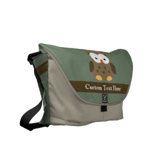 Cute Brown Owl w Pink Bow Courier Bags