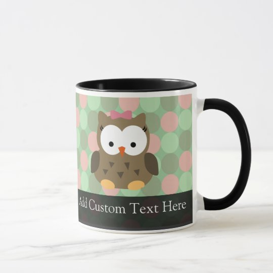 Cute Brown Owl w/Pink Bow Mug