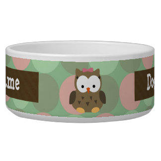 Cute Brown Owl w/Pink Bow Dog Bowl