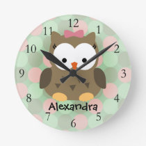 Cute Brown Owl w/Pink Bow Round Clock