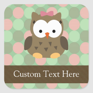 Cute Brown Owl w/Pink Bow Square Sticker