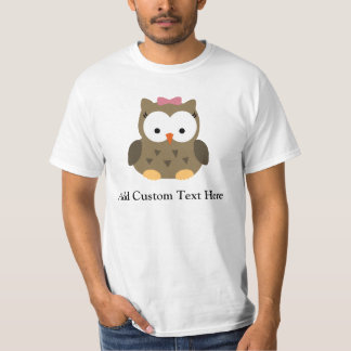Cute Brown Owl w/Pink Bow T-Shirt