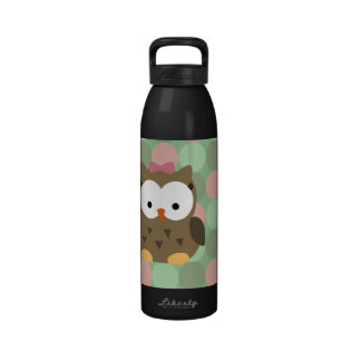 Cute Brown Owl w Pink Bow Reusable Water Bottle