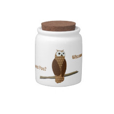 Cute Brown Owl Whoooo Loves You Candy Jar at Zazzle