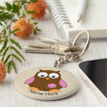 Cute Brown Owl with Pink Wings Personalized Keychain