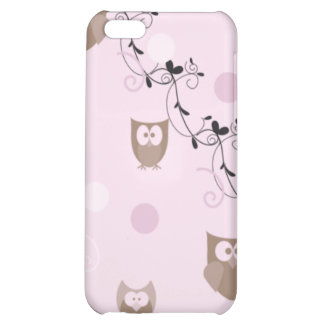 Cute Brown Owls Pink Dots Swirls iPhone 5C Covers