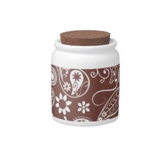 Cute Brown Paisley Pattern Candy Jars