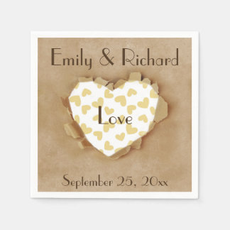 Cute Brown Paper Heart Rustic Wedding Paper Napkin