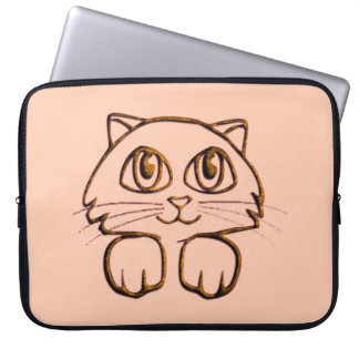 Cute Brown Peeking Kitty Cat Laptop Sleeve