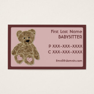 Cute brown pink bear babysitter business cards