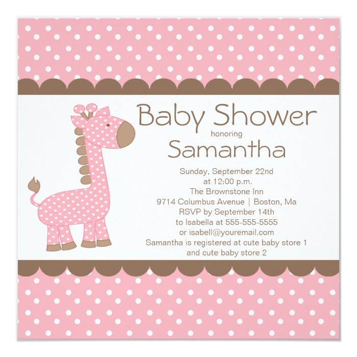Cute Brown Pink Giraffe Girls Baby Shower Card Zazzle