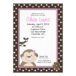 Cute Brown & Pink Monkey Baby Shower 5 x 7 invite