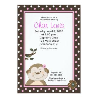 Cute Brown & Pink Monkey Baby Shower 5 x 7 invite