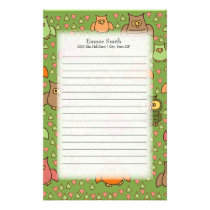 Cute Brown Pink Orange Owls on Green Stationery