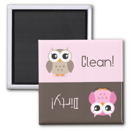 Cute brown pink owl clean dirty dishwasher magnet