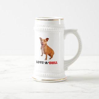 Cute Brown Pittie Love-a-Bull Beer Stein