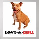 Cute Brown Pittie Love-a-Bull Poster