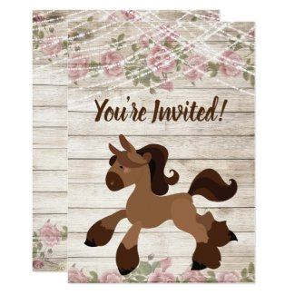 Cute Brown Pony, Roses and Lights Horse Birthday Invitation