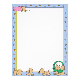 Cute Brown Puppies Personalized Letterhead