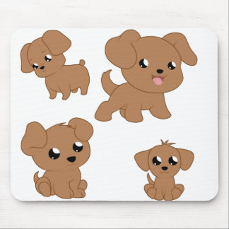 Cute Brown Puppies Mouse Pad