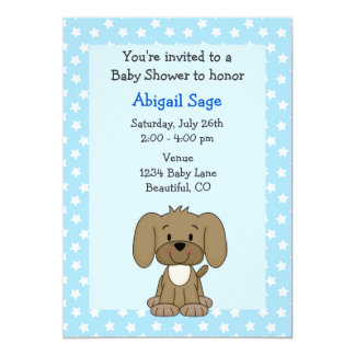 Cute Brown Puppy Dog Blue Baby Boy Shower 5x7 Paper Invitation Card