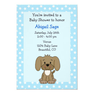 Puppy dog baby shower invitations zazzle cute brown puppy dog blue baby boy shower invitation filmwisefo
